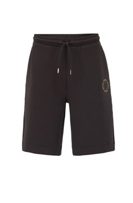 Relaxed-fit shorts with layered metallic logo, Black
