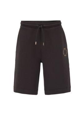 Relaxed-Fit Shorts aus Jersey mit mehrlagigem Metallic-Logo, Schwarz