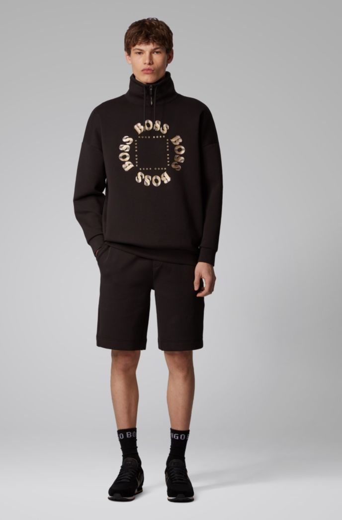 Relaxed-fit shorts with layered metallic logo