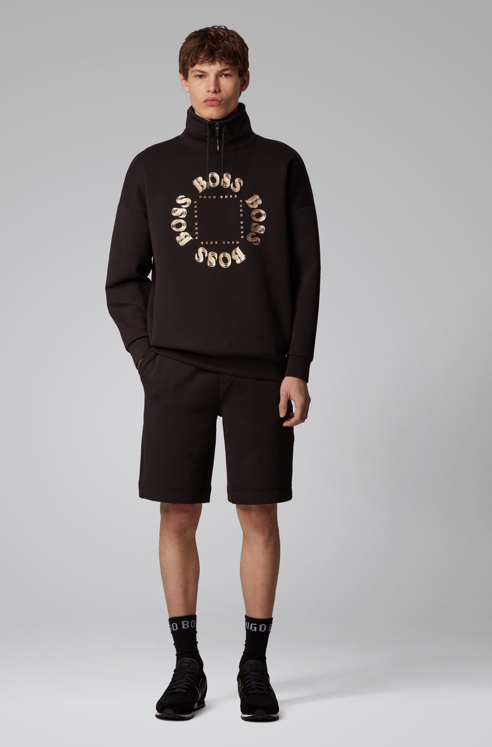 Relaxed-Fit Shorts aus Jersey mit mehrlagigem Metallic-Logo