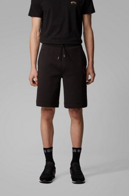 Relaxed-fit shorts with layered metallic logo, ブラック
