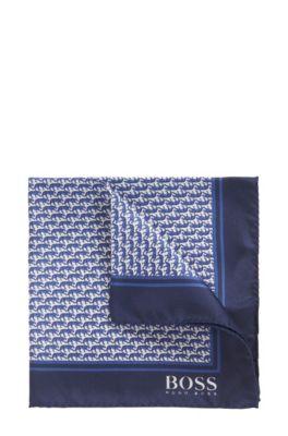 In Italien gefertigtes Einstecktuch aus Seide mit markantem Print, Blau