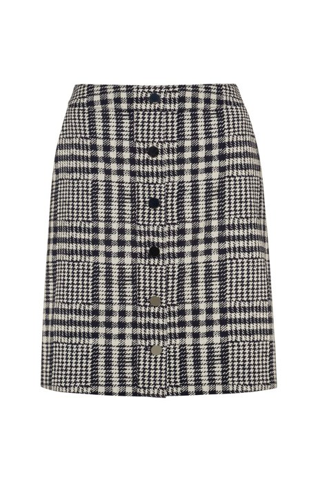 A-line mini skirt in checked fabric with buttoned front, Patterned