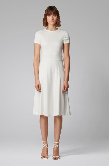 Short-sleeved dress with waist detail and rear zip, Natural