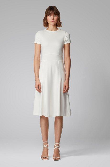 Kurzarm-Kleid aus Interlock-Gewebe mit Taillendetail und Reißverschluss hinten, Natur