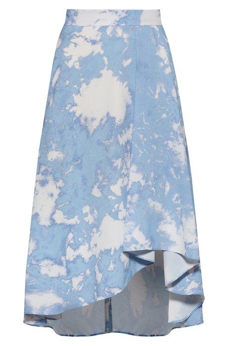 Jupe mi-longue à imprimé tie-dye avec base asymétrique, Bleu vif