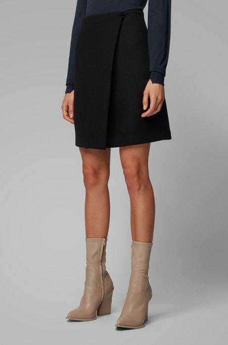 Jupe courte portefeuille en twill de laine italienne, Bleu foncé
