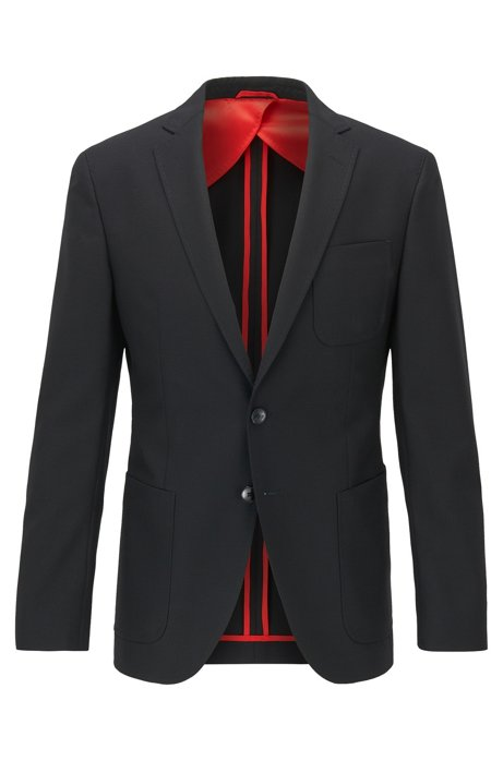 Extra-slim-fit jacket in patterned virgin wool, Black