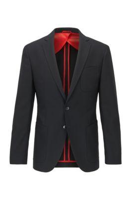 Extra-slim-fit jacket in patterned virgin wool, Black
