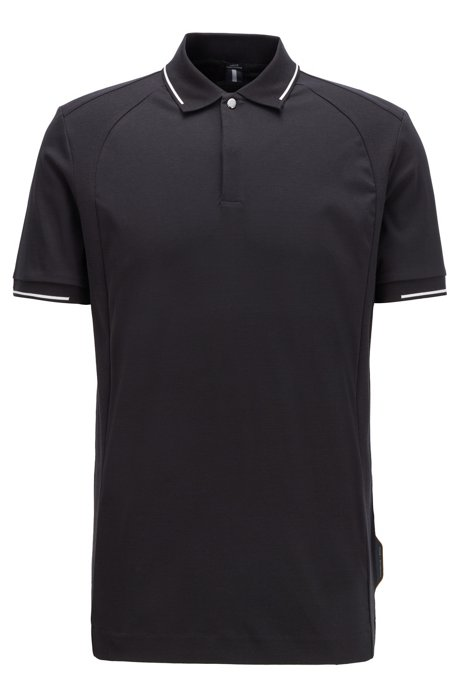 Slim-fit polo shirt in cotton with lustrous trims, Black
