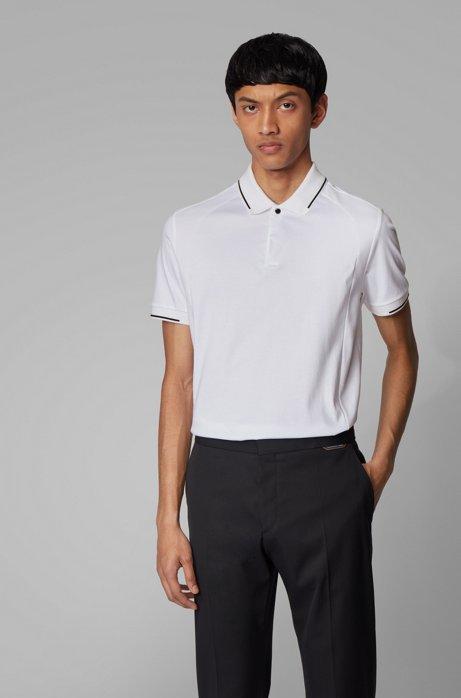 Polo slim fit in cotone con finiture lucide, Bianco