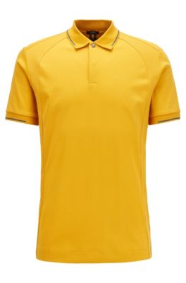 Polo slim fit in cotone con finiture lucide, Oro