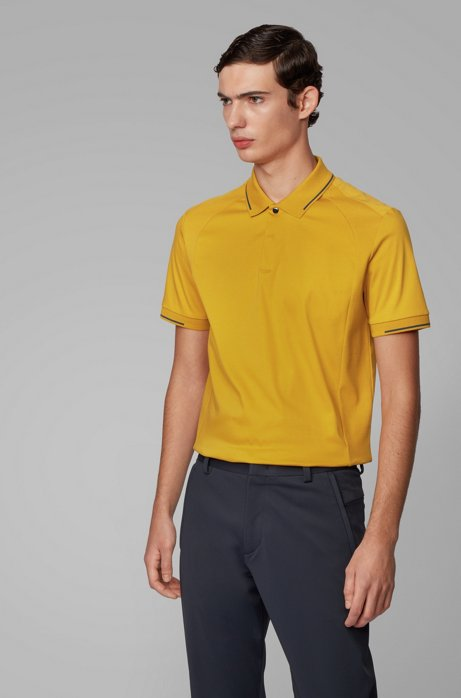 Slim-fit polo shirt in cotton with lustrous trims, Gold