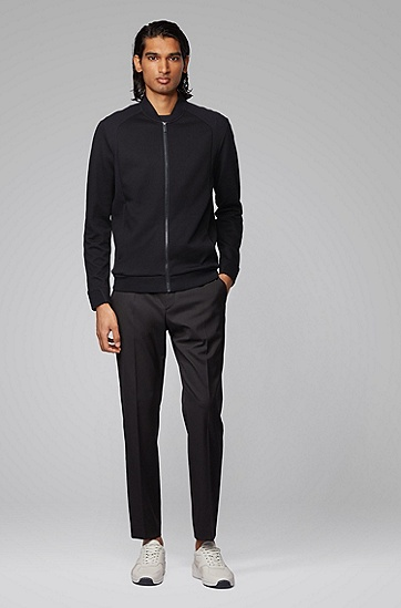 Porsche x BOSS联名款男士棉质混纺拉链运动衫,  001_黑色