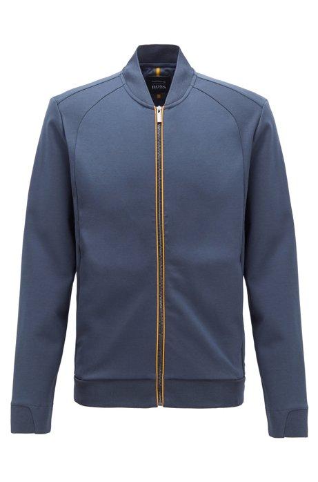 Sweat zippé en coton mélangé, Bleu foncé