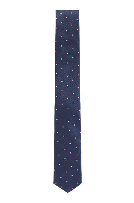 Italian-made patterned tie in water-repellent silk jacquard, Dark Blue