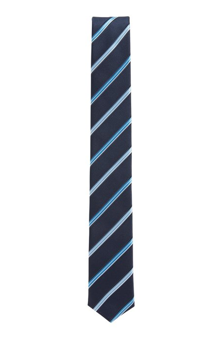 Italian-made striped tie in water-repellent silk jacquard, Dark Blue