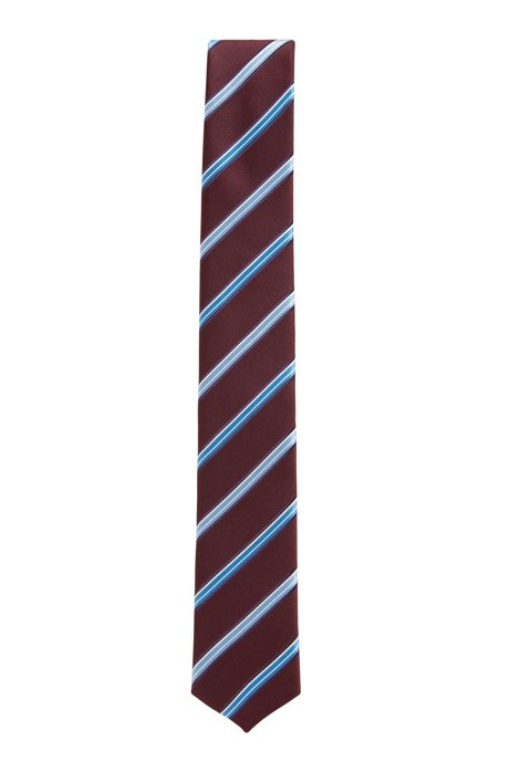Italian-made striped tie in water-repellent silk jacquard, Dark Red