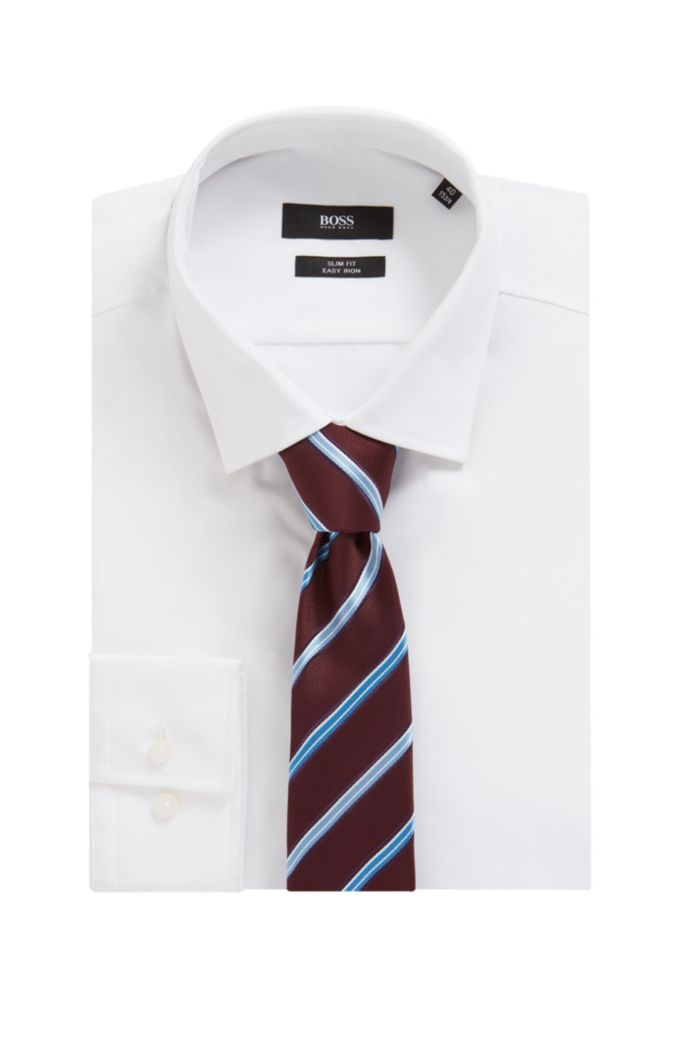 Italian-made striped tie in water-repellent silk jacquard