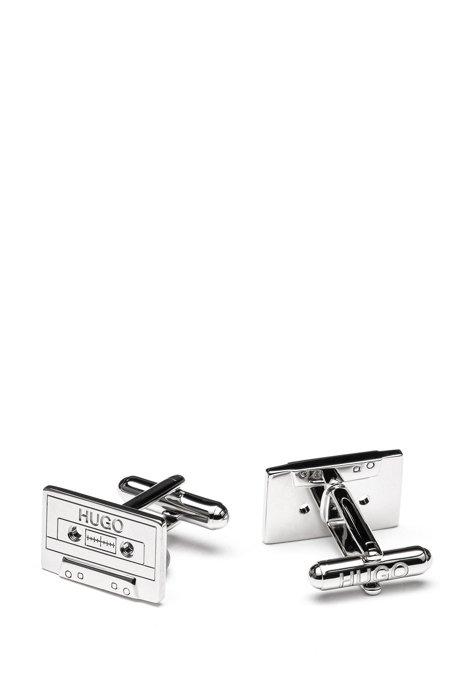 Gemelos de cinta de casete en latón pulido, Plata