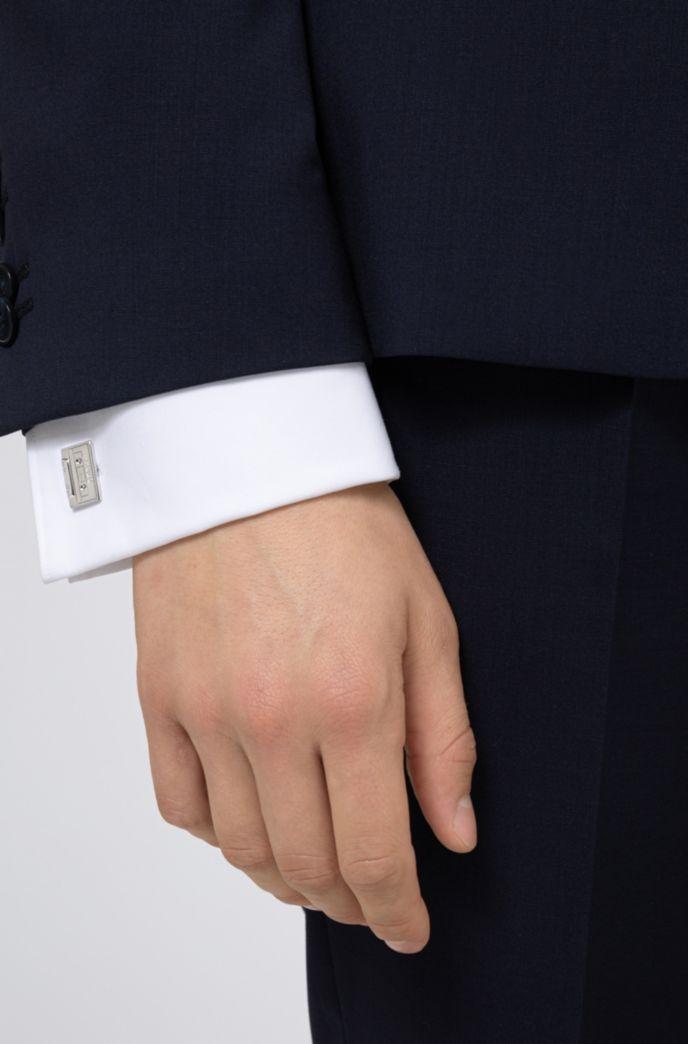 Manschettenknöpfe aus poliertem Messing mit Kassetten-Design