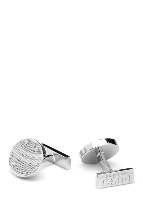 Round cufflinks with tower-inspired design, Silver