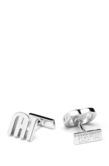 Reworked logo cufflinks in polished brass, Silver