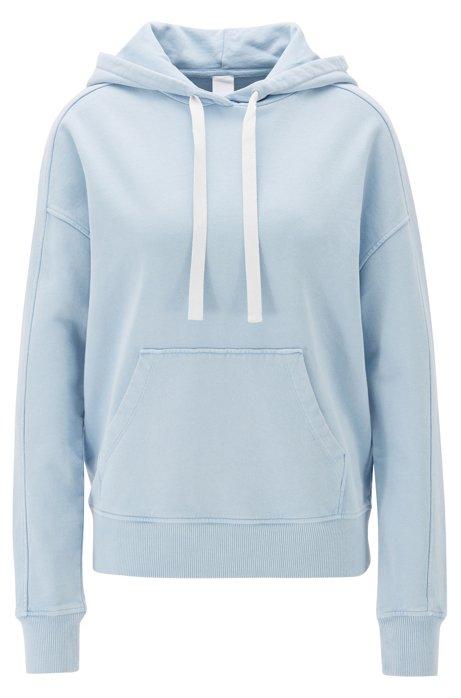 Sweater van gebleekte katoenbadstof met capuchon, Lichtblauw