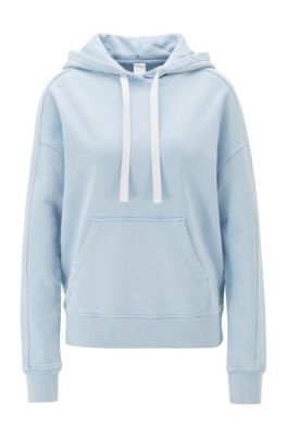 Hooded sweatshirt in bleached cotton terry, Light Blue