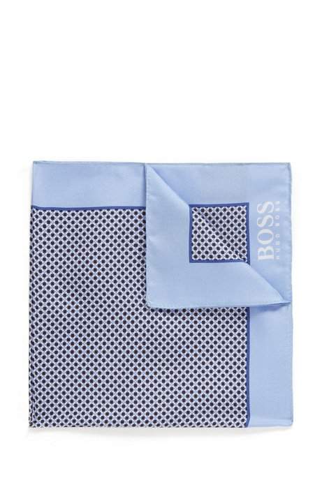 Italian-made printed pocket square in water-repellent silk, Light Blue