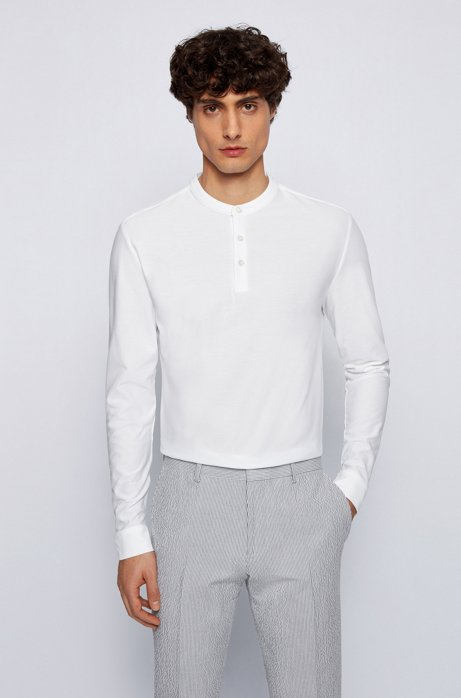 T-shirt à col tunisien Slim Fit, en coton mercerisé, Blanc