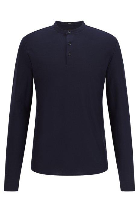Camicia stile Henley slim fit in cotone mercerizzato, Blu scuro
