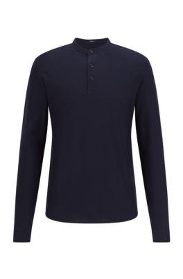 Henley-Shirt aus merzerisierter Baumwolle, Dunkelblau