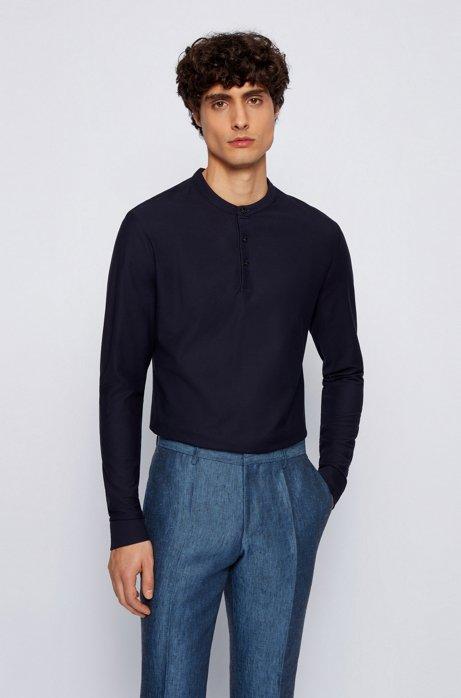 Slim-fit Henley shirt in mercerised cotton, Dark Blue