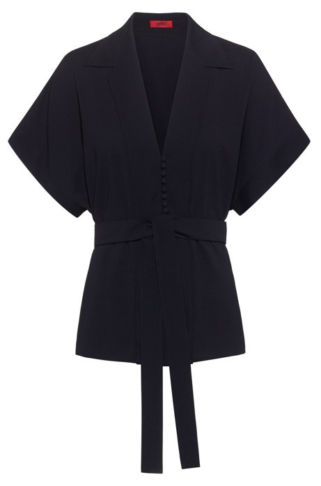Relaxed-fit belted top in crinkle crepe, Dark Blue