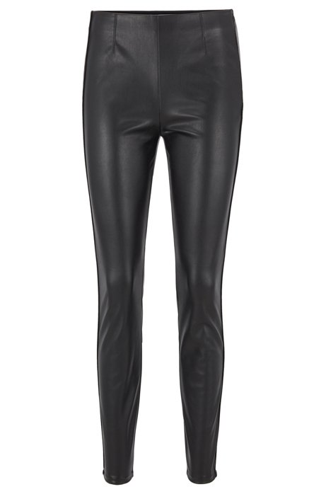Leggings skinny fit in similpelle con profilatura, Nero