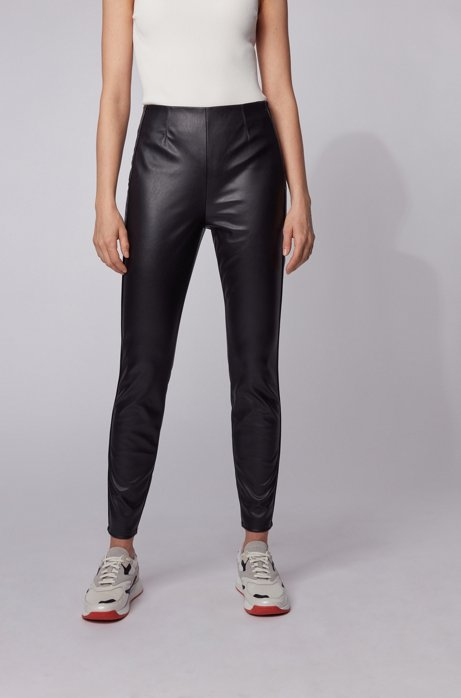 Skinny-fit leggings in faux leather with piping details, Black