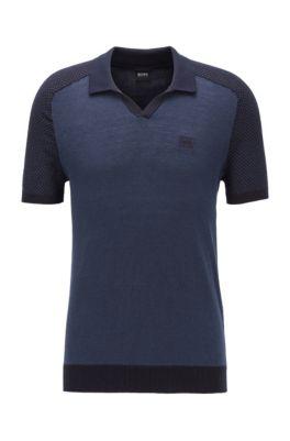 Maglione a maniche corte in cotone e lino con colletto polo, Blu scuro