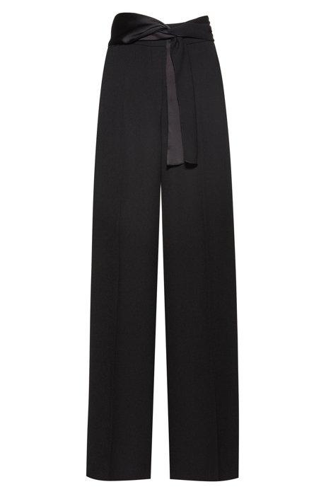 Regular-Fit Hose aus Krepp mit Schalgürtel und weitem Bein, Schwarz