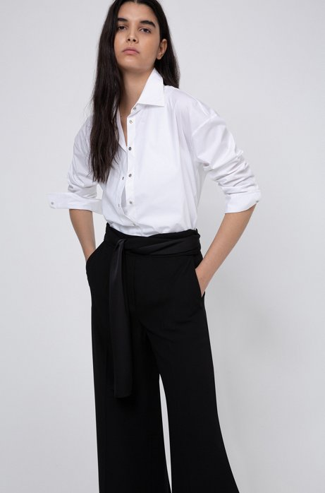 Wide-leg trousers in crepe with scarf-style belt, Black