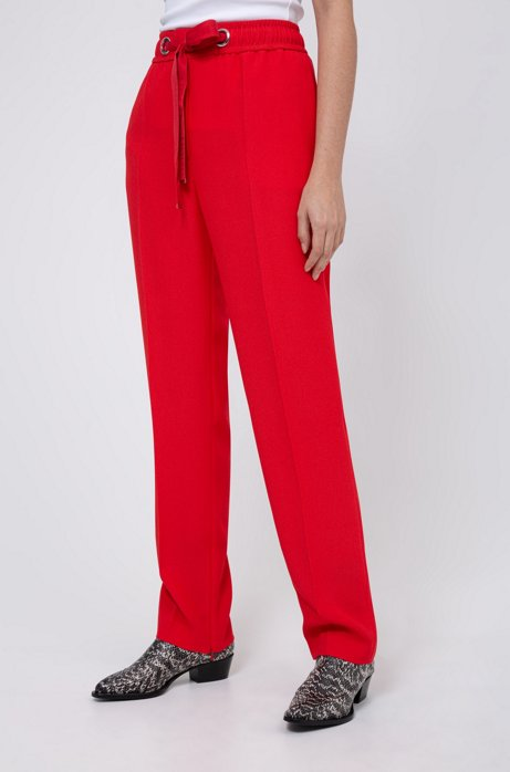 Relaxed-fit trousers with tie-up logo belt, Red