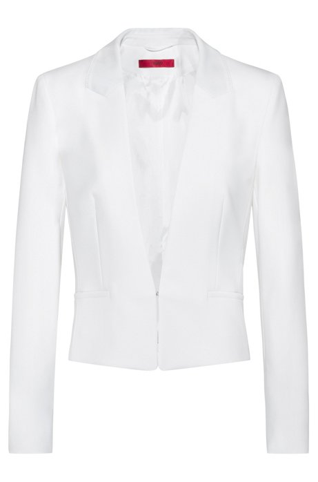Regular-fit cropped jacket with hook closure, White