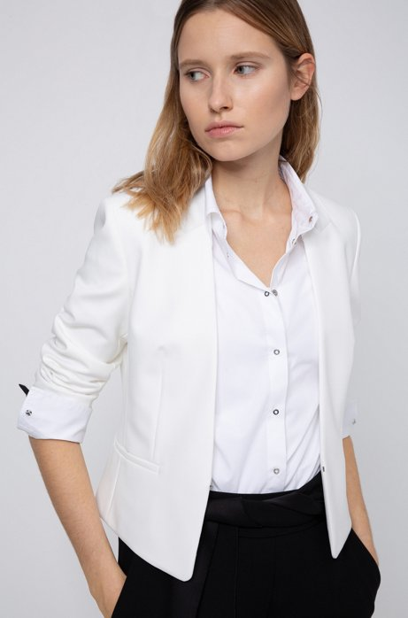 Blazer court Regular Fit fermé par une agrafe, Blanc