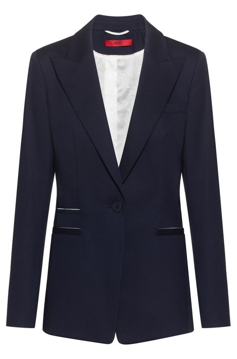 Regular-fit jacket in stretch cotton with contrast details, Dark Blue