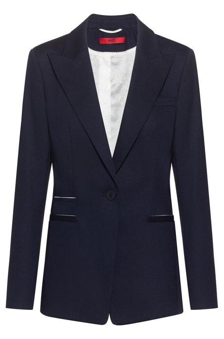 Regular-fit blazer van stretchkatoen met contrastdetails, Donkerblauw