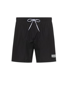 Quick-dry swim shorts with reversed logo print, Dark Blue
