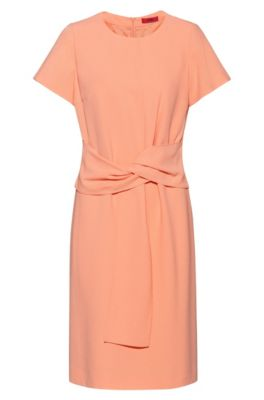 Short-sleeved dress in crepe with tie-up belt, Light Orange