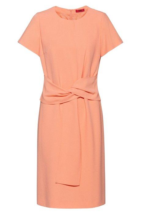 Kurzarm-Kleid aus Krepp mit Bindegürtel, Hellorange
