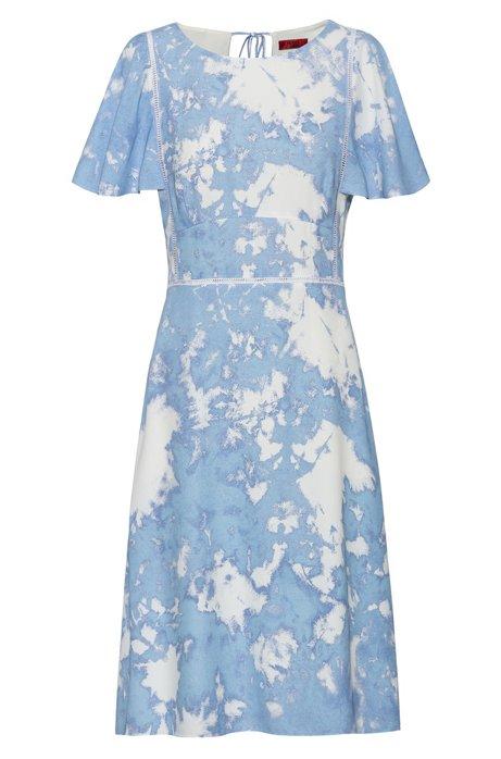 Jurk met tie-dye-print en kant met opengewerkte gaatjes, Lichtblauw