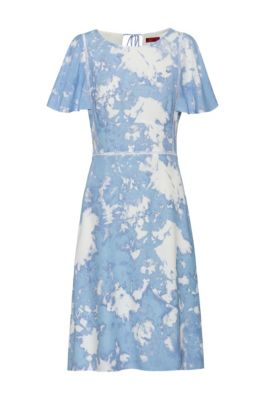 Tie-dye-print dress with eyelet lace detailing, Light Blue